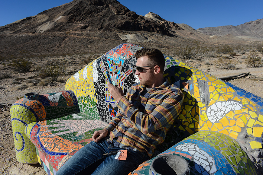 Working on a couch in Nevada Desert