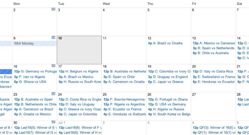 World Cup 2014: Google Calendar