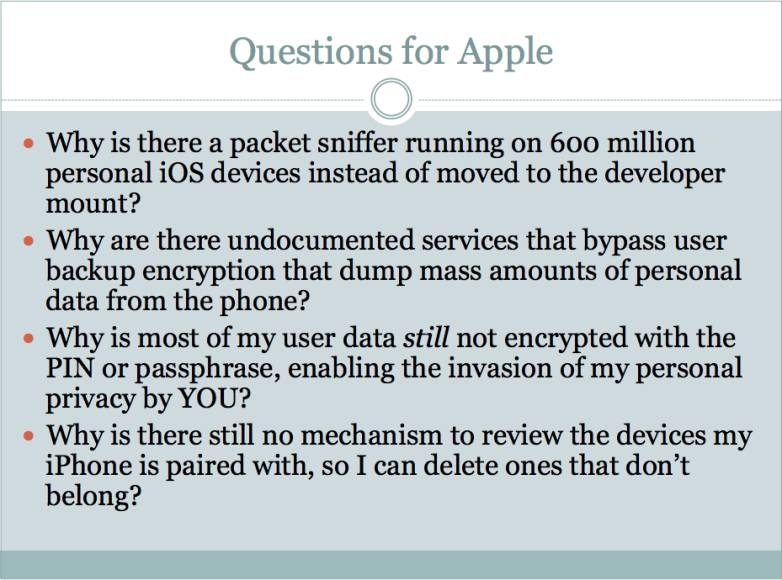 Apple's iOS Backdoor Features