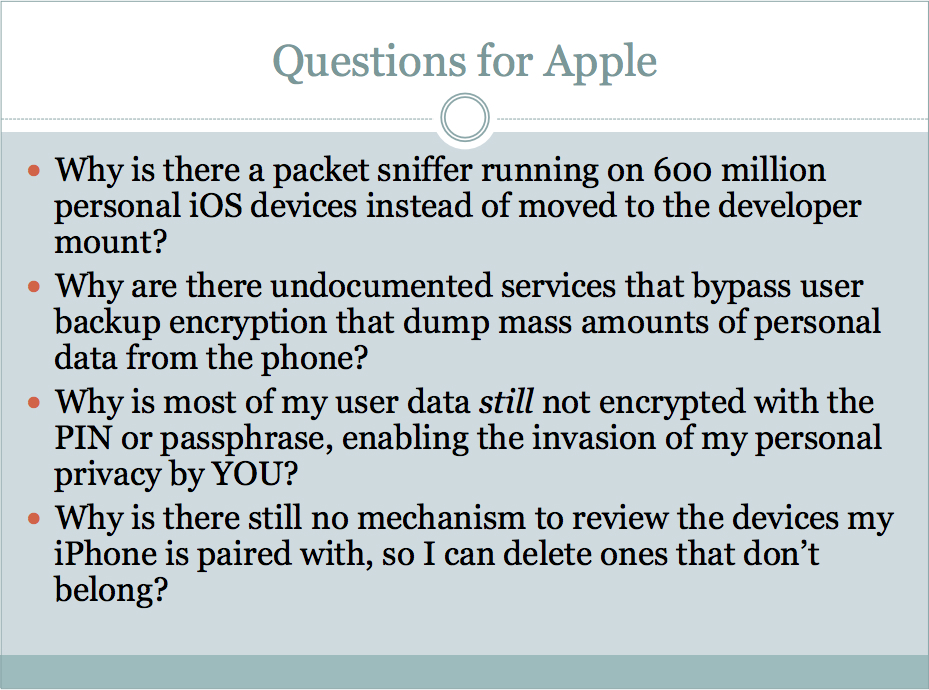 Apple's iOS Backdoor Features