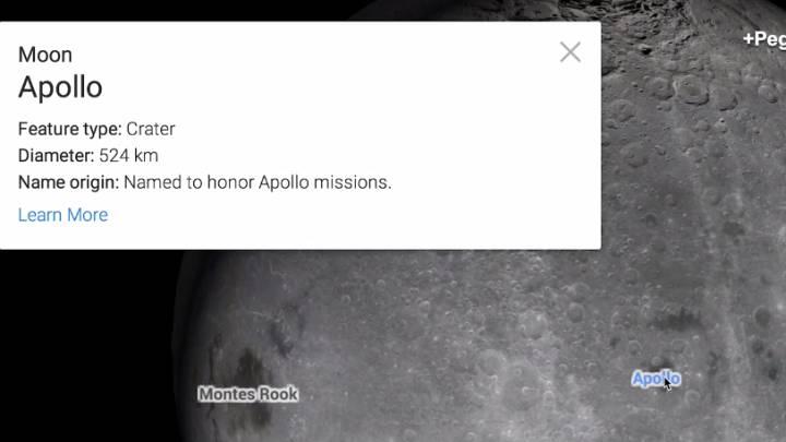Google Maps Easter Egg Moon and Mars