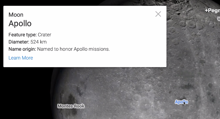 Google Maps Easter Egg Moon and Mars