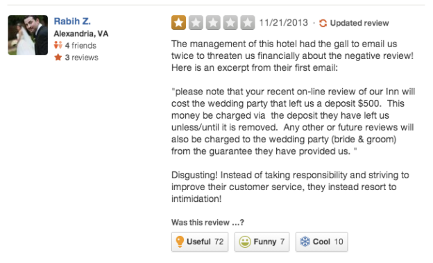 Negative Hotel Review