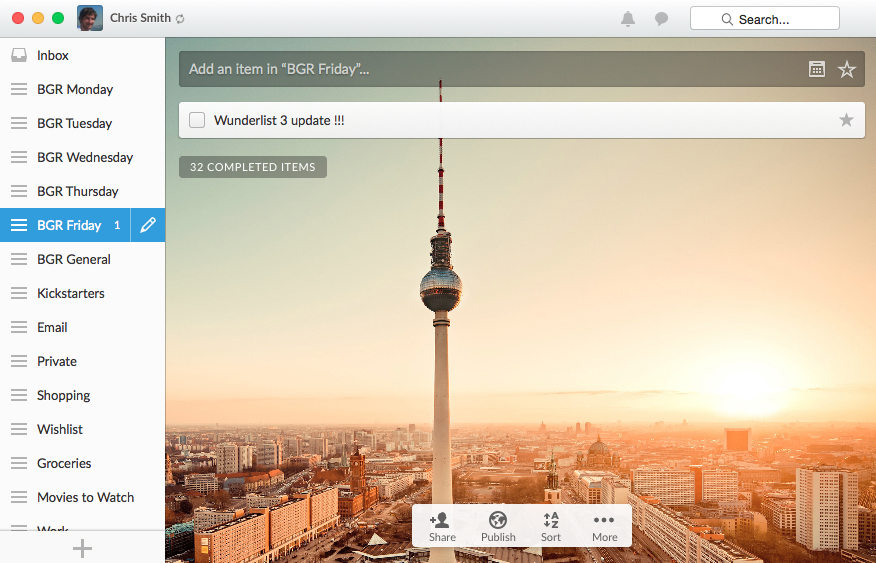 Wunderlist 3 for iOS, Mac, Android and Windows 8