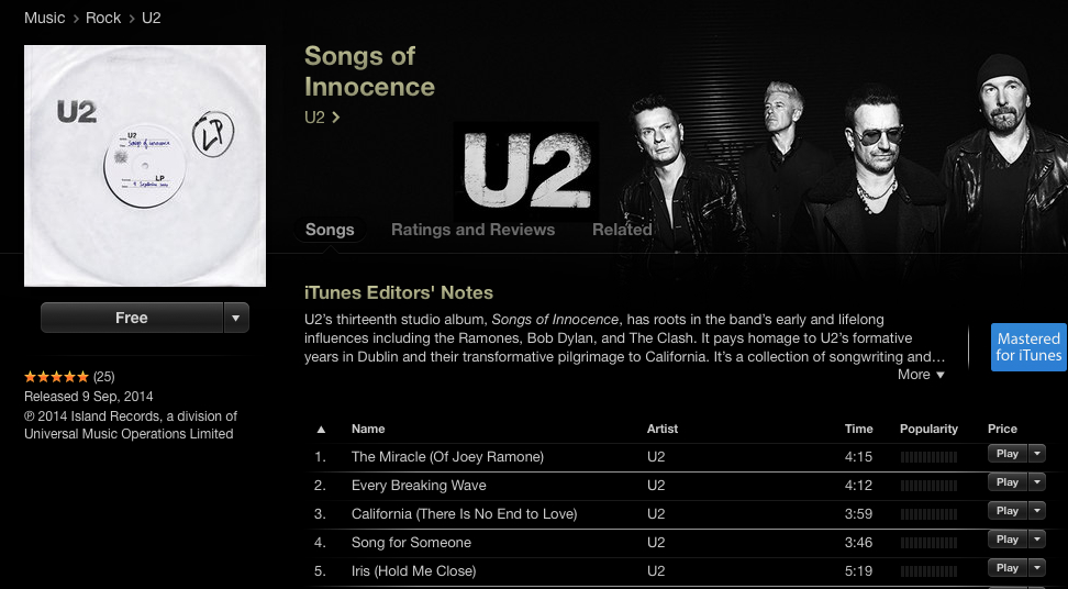 U2 Songs of Innocence Free Download