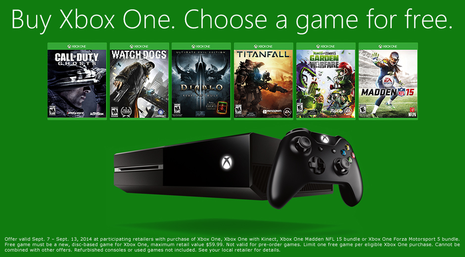 Xbox One Free Game Promotion