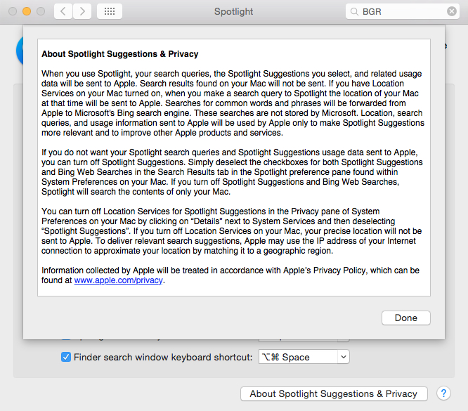 Yosemite Spotlight Search Data Collection