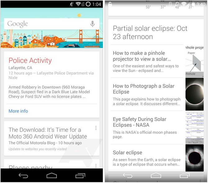 Google Now New Cards