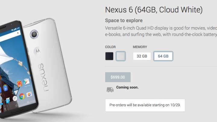 Google Nexus 6 Preorder