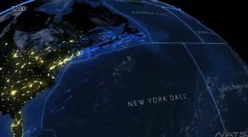 North Atlantic Air Traffic Time-Lapse Video