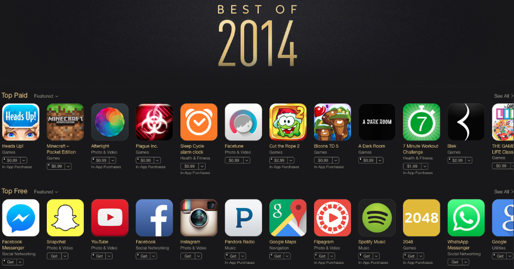 These are the top free and paid iOS apps of 2014
