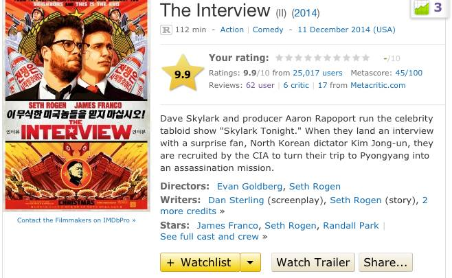 The Interview Movie Reviews and Rating
