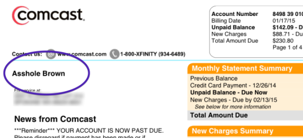 BGR Media image showing how a Comcast customer service changed someone's name