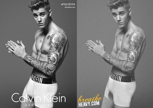 Justin Bieber's Photoshopped Calvin Klein Ad