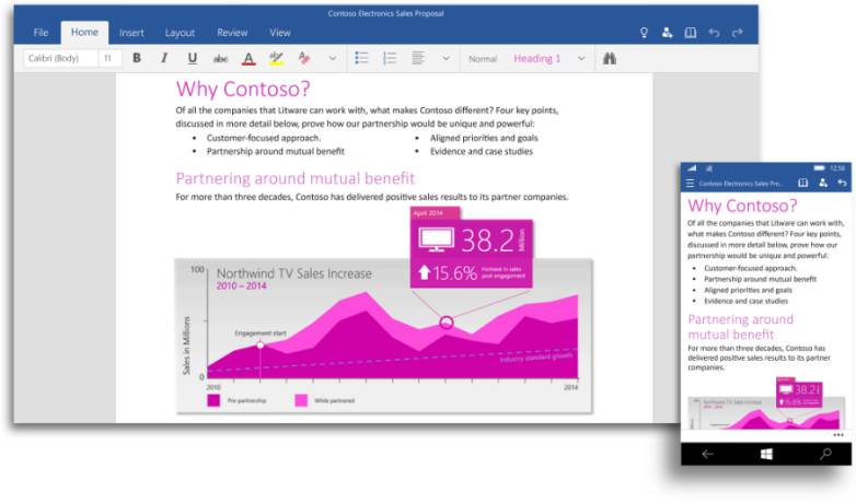 Office for Windows 10 for Phones and Tablets