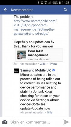 Samsung Galaxy S6 memory issue statement