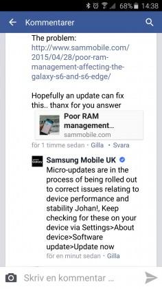 Samsung Galaxy S6 memory issue statement