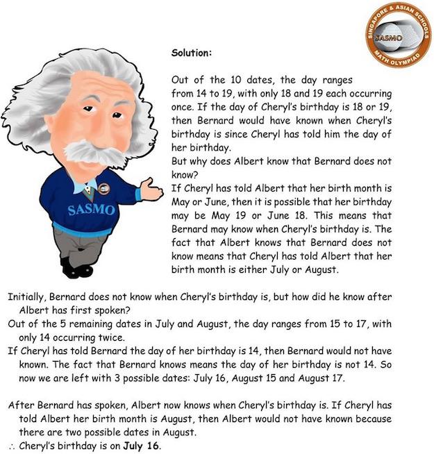 math problem singapore cheryl's birthday