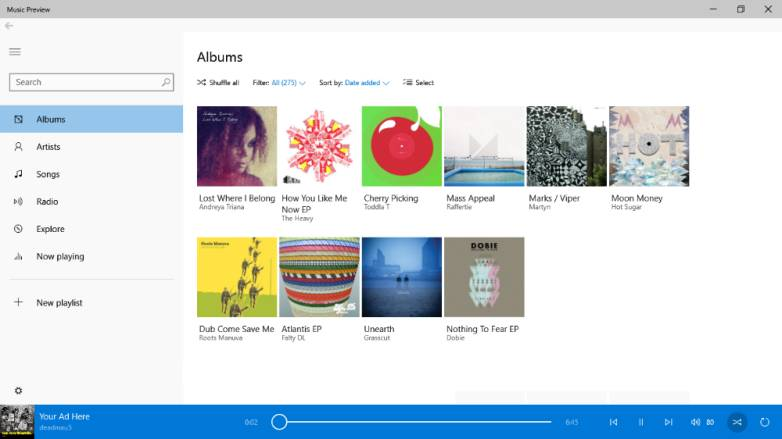 Windows 10 Music and Video Apps