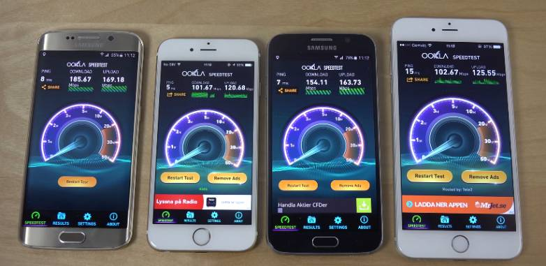 Galaxy S6 edge iPhone 6 Plus Wi-Fi Speed
