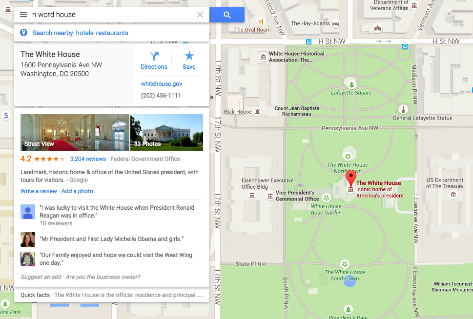 Google Maps Racist White House Searches