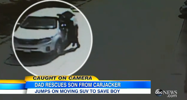 Dad Saves Son Jumping Stolen Car