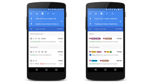 Google Maps Real-Time Transit Information