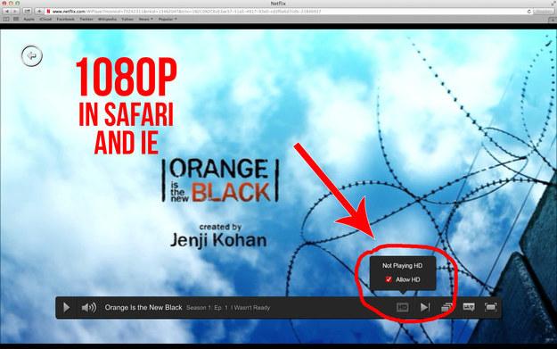 Netflix Full HD Chrome Safari Internet Explorer