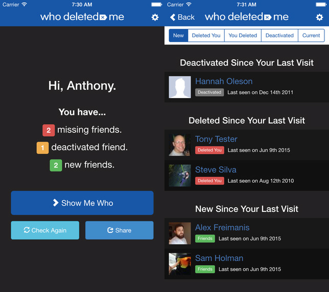 Facebook Who Deleted Me App
