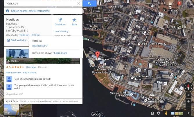 Google Maps Send Directions Computer Smartphone