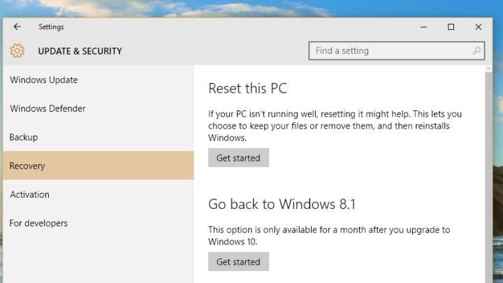 Windows 10 Downgrade Windows 8.1 Procedure