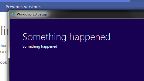 Windows 10 something happened error message bgr
