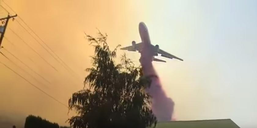 DC-10 Air Tanker Drop Wildfire