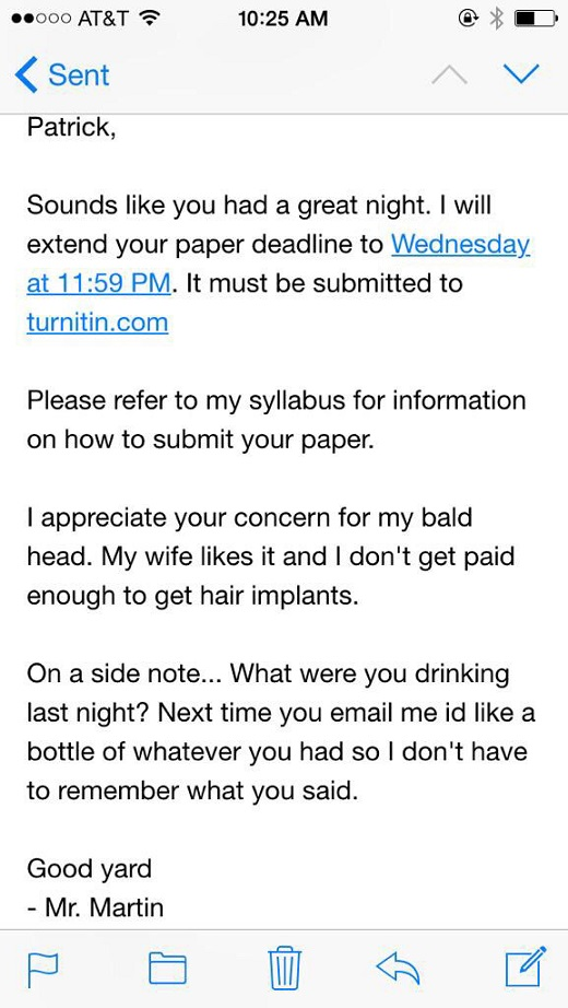 drunk student professor email martin