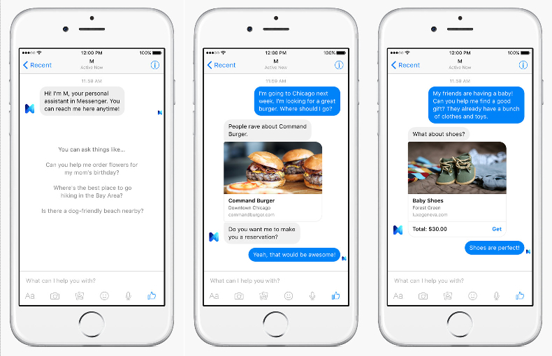 Facebook Messenger M Virtual Assistant Pictures