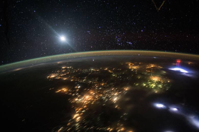 NASA Space Station Red Sprite Photo