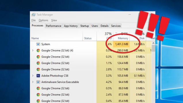 Windows 10 System Process RAM