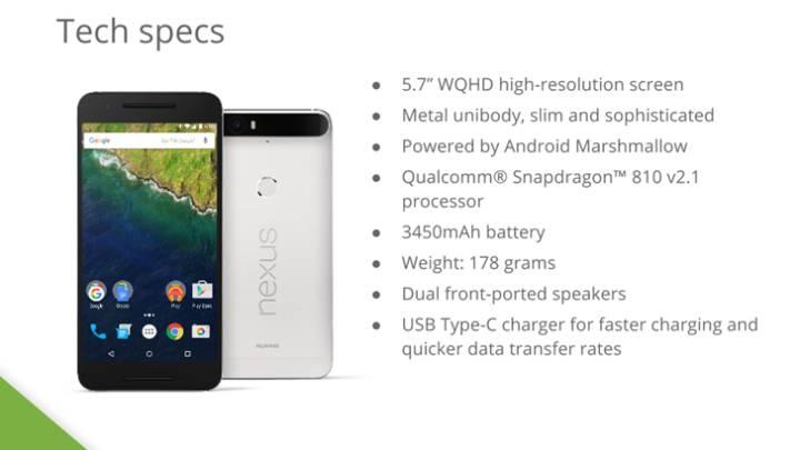 Google Nexus 6P Specs Features