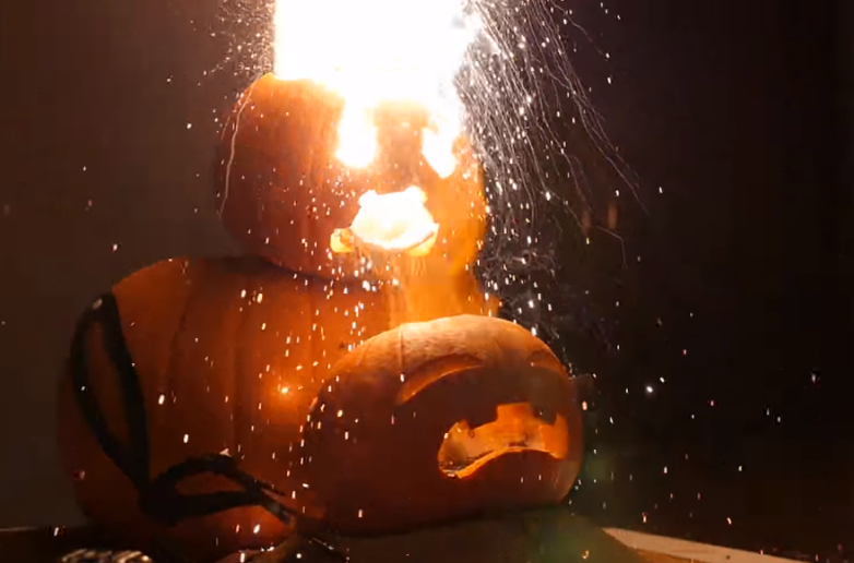 Halloween Pumpkins Thermite Fire Video