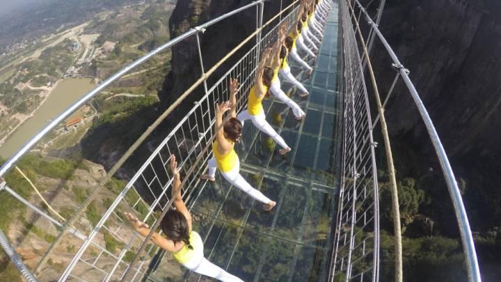 Women Yoga Glass Bridge