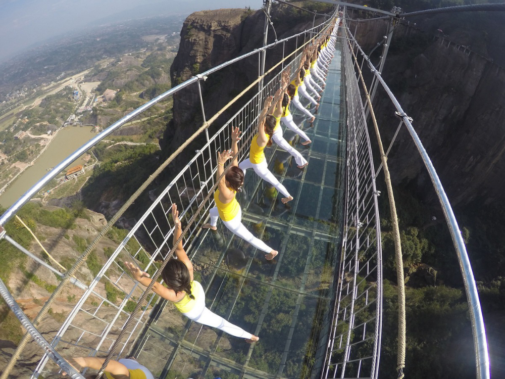 Women Yoga Glass Bridge