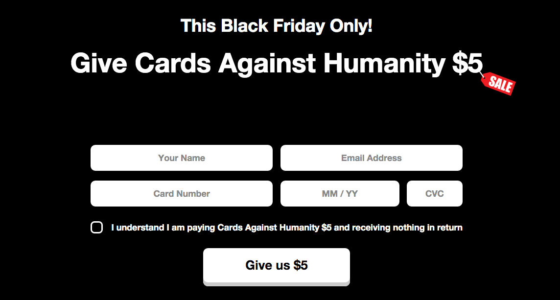 Cards Against Humanity Black Friday Sale