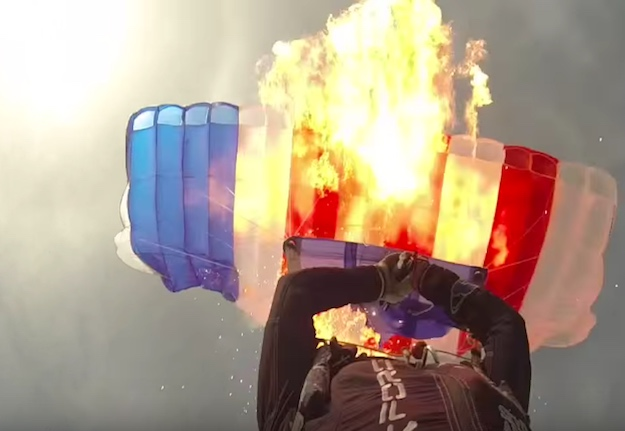 Skydiver Sets Parachute On Fire
