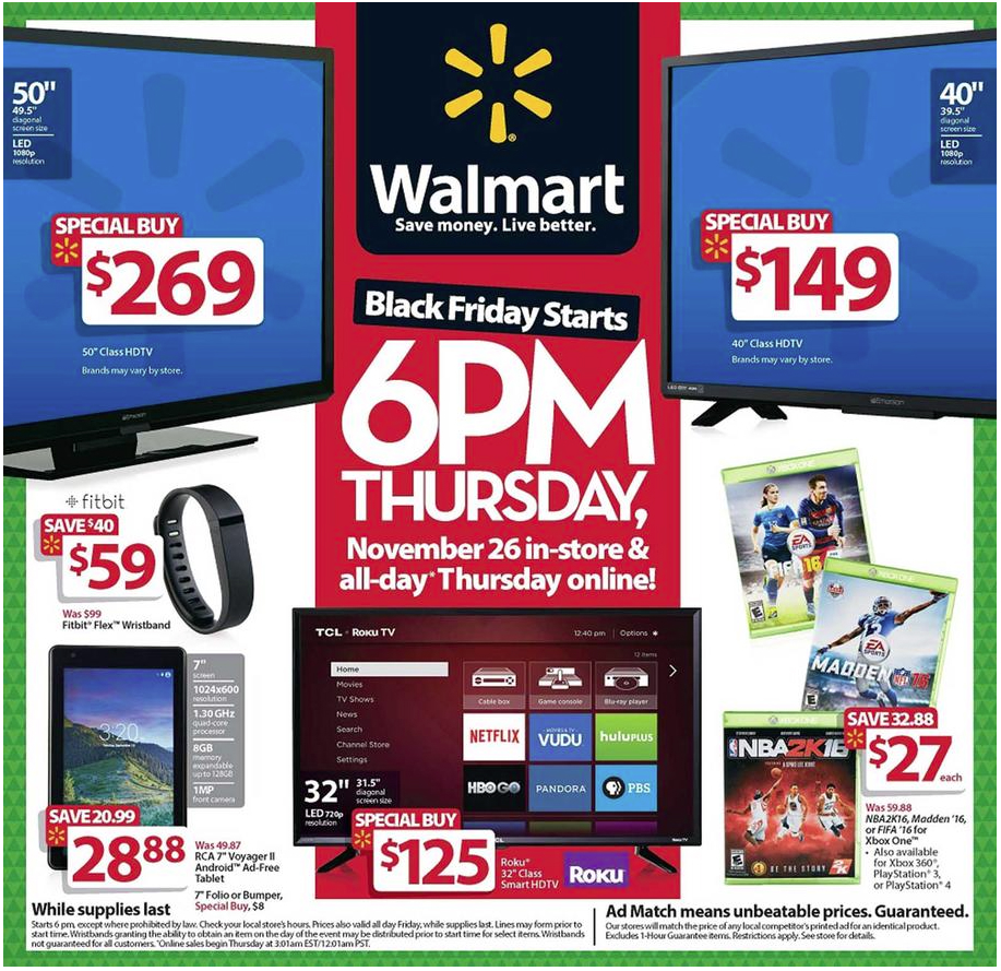Walmart S Full Black Friday Ad Now Available Cheap Curved 4k Tvs Iphone 6s Deals And More Bgr