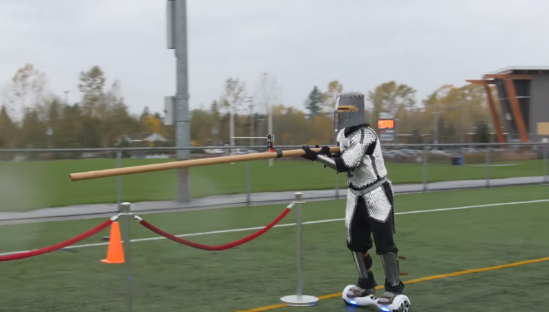 Fully Armored Hoverboard Jousting Video