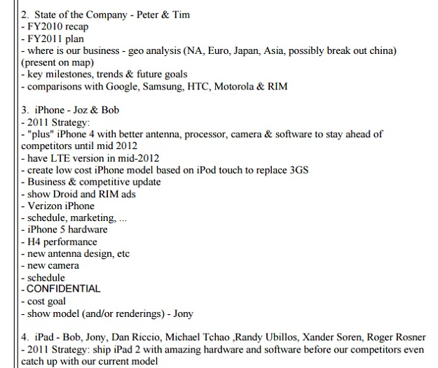 steve jobs email product roadmap