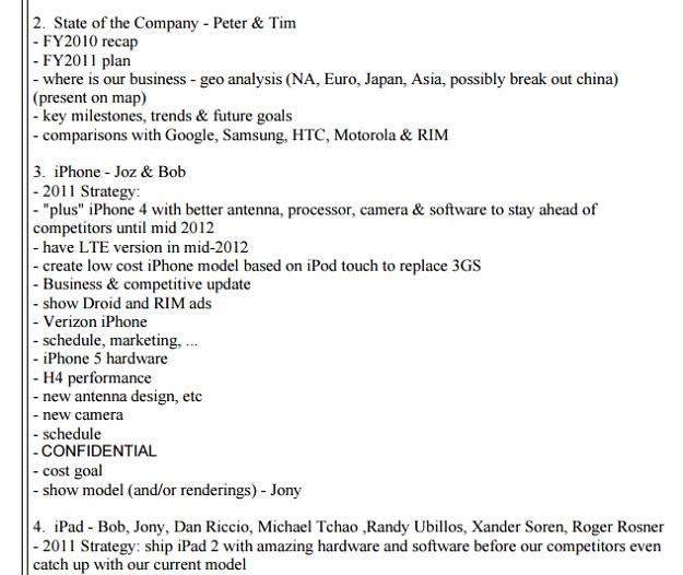 steve jobs email product roadmap
