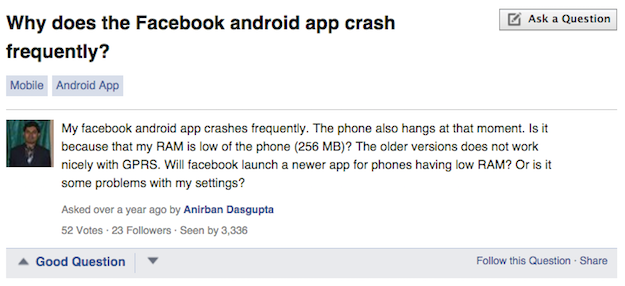 facebook android crash