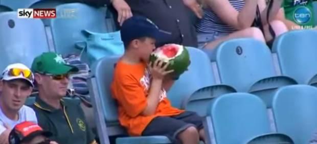 Kid Eating Watermelon Stadium