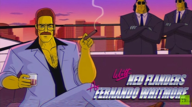 ned flandres 80s simpsons couch gag